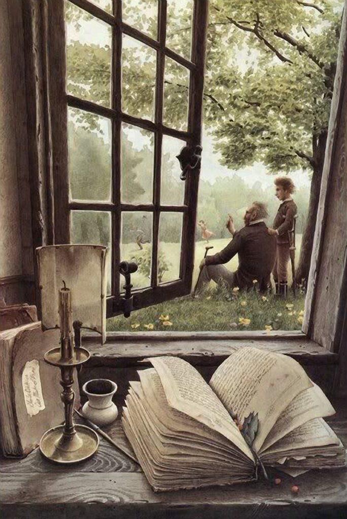 abuelo y nieto campo a través de la ventana