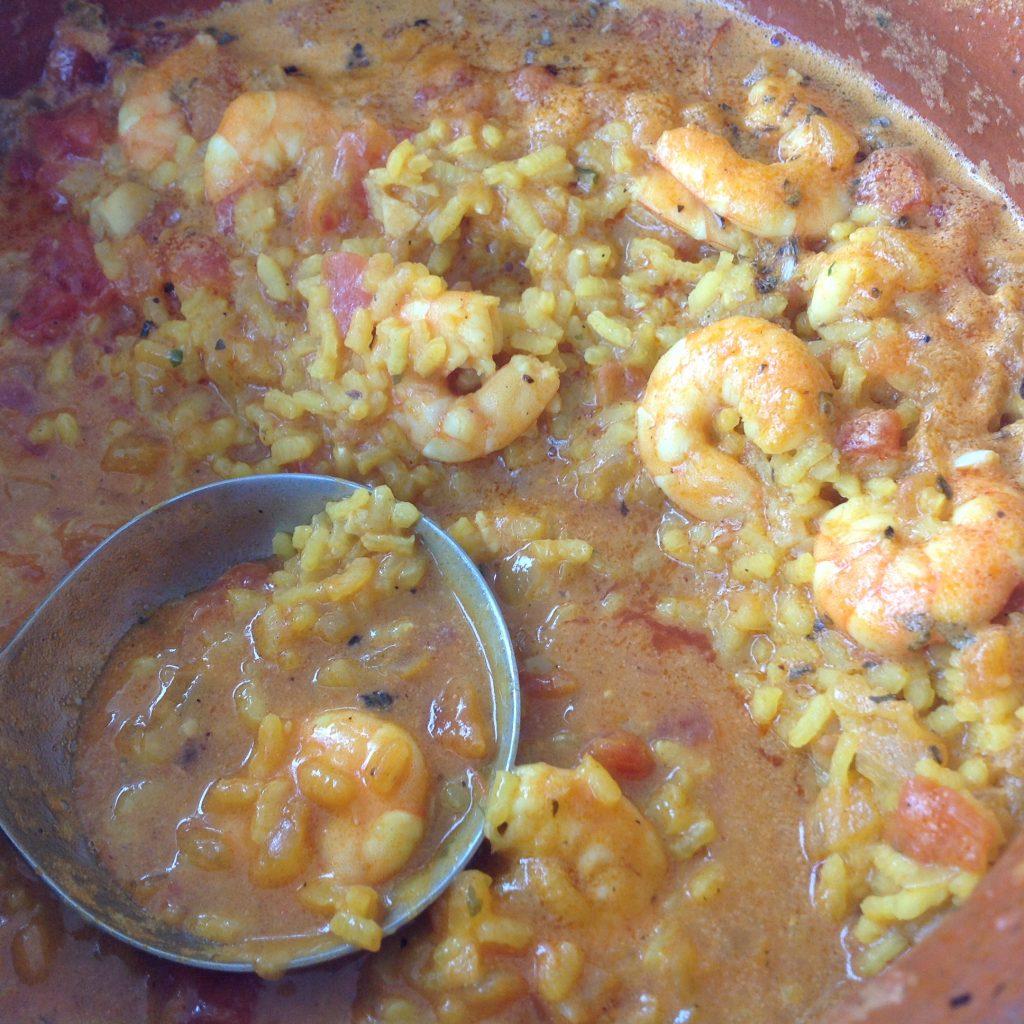 arroz meloso con langostinos