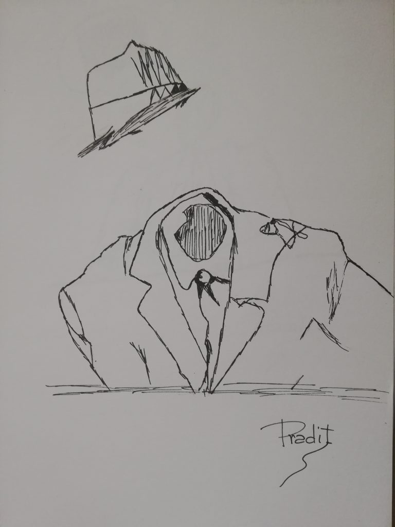 Hombre sin cabeza dibujo pradit