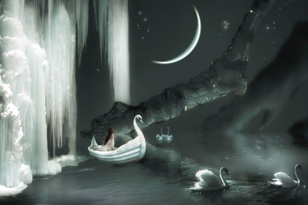 cisnes barco fantasía