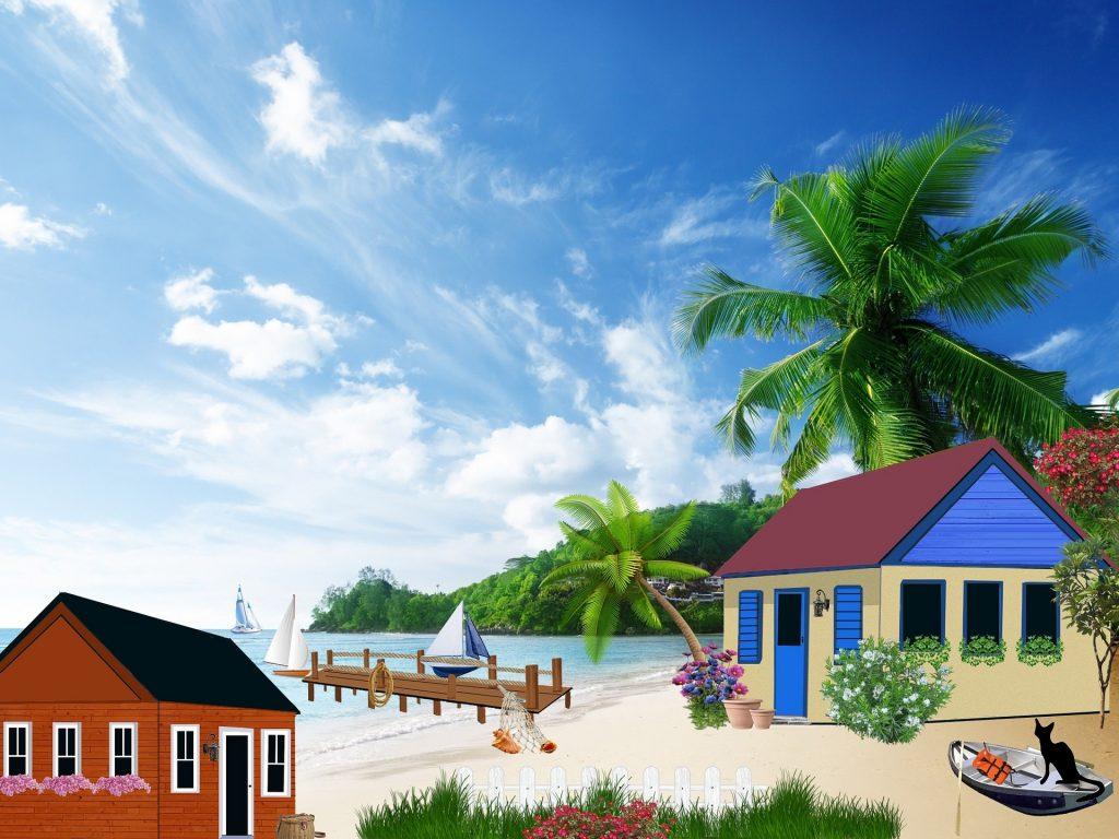 cabaña playa dibujo